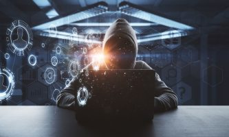 no face hacker working on laptop with technology digital cyberspace interface around at abstract background